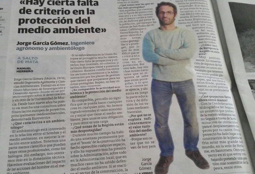 Uno de los socios de EV, Jorge García, entrevistado en el diario 'La Verdad de Murcia'